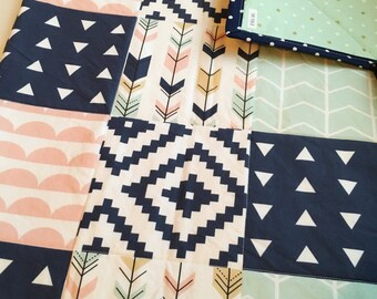 Boho Baby Soft Geometric Arrow Adventue Modern Baby Girl Pinks Navy and Greens Quilt Ready to Ship