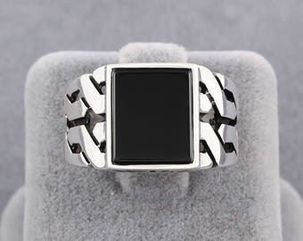 Knitting Design Handmade Turkish Jewelry Black Onyx Stone 925 Sterling Silver Men's Ring Size 8 - 12