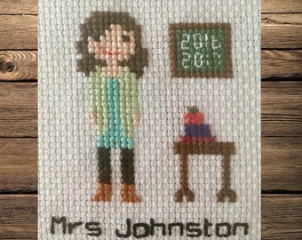 Personalised cross stitch teacher portrait
