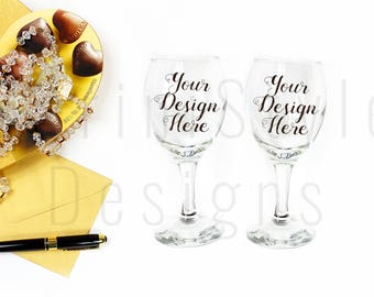 2 Wine Glasses Mockup, Stock photo, Feminine Stock Image, Wedding Styled Stock Photography, Mock up for sticker, engraving, decals, 481