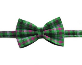 Easter Spring Plaid Green and Purple Bow Tie | Newborn / Baby / Toddler / Child / Boy / Dog