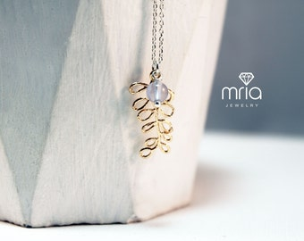 Necklace 925 sterling silver with gold leaf and chalcedony