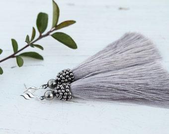 Tassel Earrings light Gray