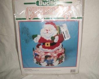 Vintage Bucilla Santa and Elves Plastic Canvas Candy Holder Kit