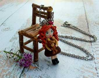 Kawaii dolls Chibi doll Red doll Clay doll Miniature clay doll Necklace doll Handmade dolls Gift for her Anniversary gift Gift for wife