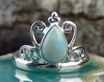 Teardrop Larimar stone in a sterling silver tiara style band size 6.75