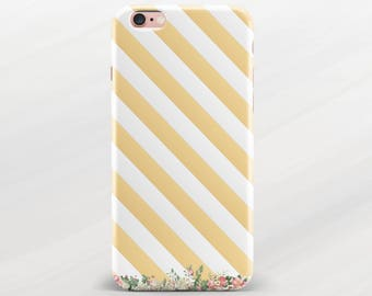 Gold Stripes iPhone Case White Stripes iPhone 6 Plus Case Floral Case iPhone 6 Plus Stripes Case iPhone 7 Plus Cover iPhone 6s Case