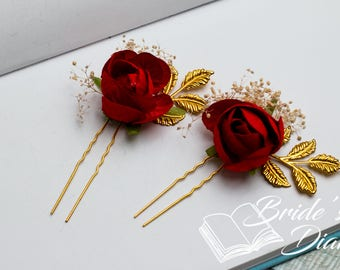 1pc Bridal hair pins, pearl hair pins, golden color hair pins with red rose