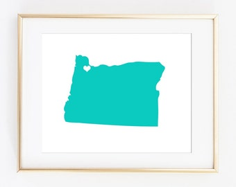 Portland Oregon Art, Oregon state art, Floral Oregon art, Oregon Heart art, Portland city art, Portland poster, Oregon Poster, Custom state