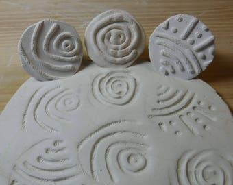 3 Textured Clay Stamps // Pottery Texture Clay stamp // Set #305