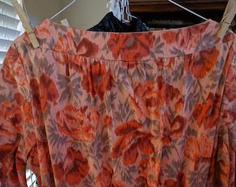 "50's/60's Madmen secretary dress, gorgeous orange, 32"" waist!"