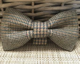 Aqua Mix Tweed Dog Bow Tie