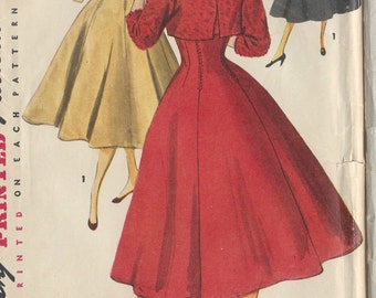 "1954 Vintage Sewing Pattern B30"" DRESS & JACKET (R377) Simplicity 4759"