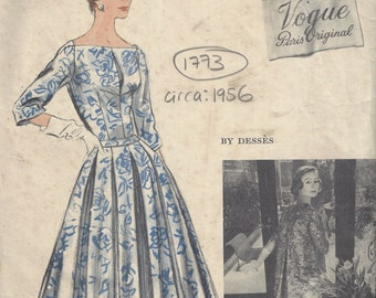 1956 Vintage VOGUE Sewing Pattern B34 DRESS with COAT & Slip (1773) By 'Desses'