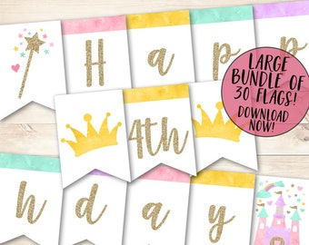Princess Banner, Princess Birthday Banner,  Princess Party Banner, Princess Happy Birthday Banner, Magical Party, Magical Birthday