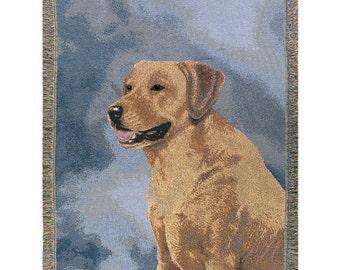 Personalized Yellow Labrador Retriever Dog Throw Blanket