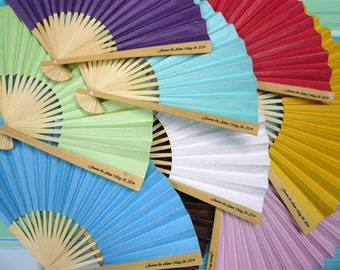 "Personalized Colored Paper 9"" Folding Hand Fans"