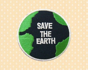 Save The Earth Logo Sign Iron On Patch Embroidered Sew On Apllique DIY Jeans Patches