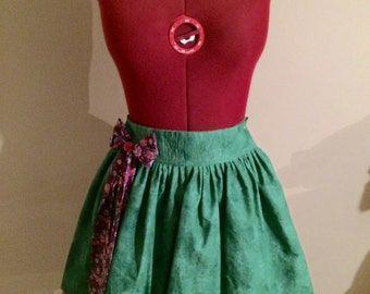 Green Skirt with Floral Bow