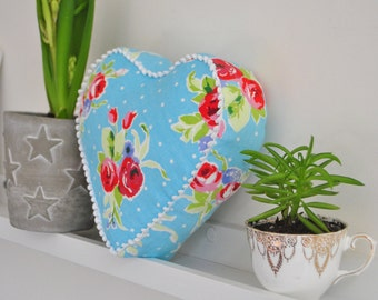 Floral Small Fabric Heart Cushion,  keepsake gift, baby girl, mum gift, mothers day
