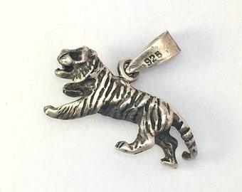 Vintage Sterling Silver Tiger Charm/Pendant