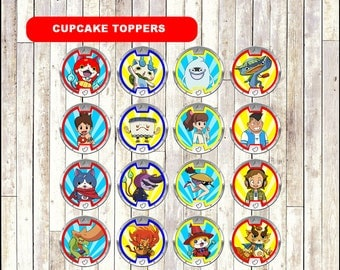 Yo Kai Watch Cupcakes toppers, printable Yo-Kai Watch Cupcakes toppers, Yo-Kai Watch toppers - Instant download