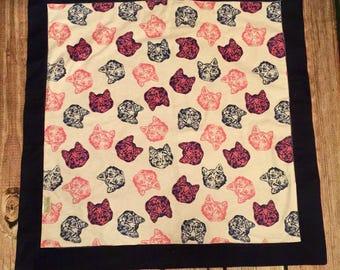 Baby Recieving Blanket, flannel, Cats,pink/navy