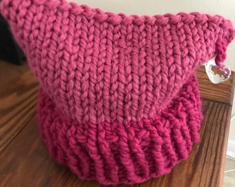 Raspberry pussy hat - two tone - with heart - Handmade in USA