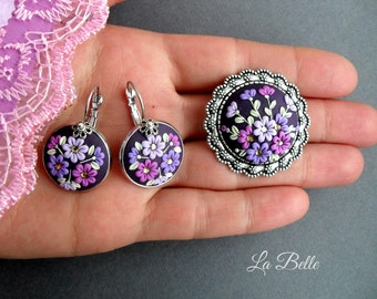 Lilac set. Filigree flowers. Earrings and brooch\embroidery\made needle\polymer clay jawelry\gift for her\polymer clay flowers\ring brooch