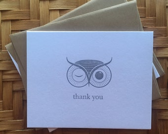 The Winking Owl - letterpress thank you cards