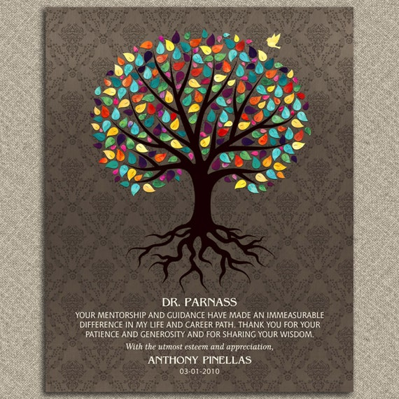 Thank You For Your Generous Gift Quotes: Gift For Mentor Doctor Colorful Watercolor Tree Damask Gift