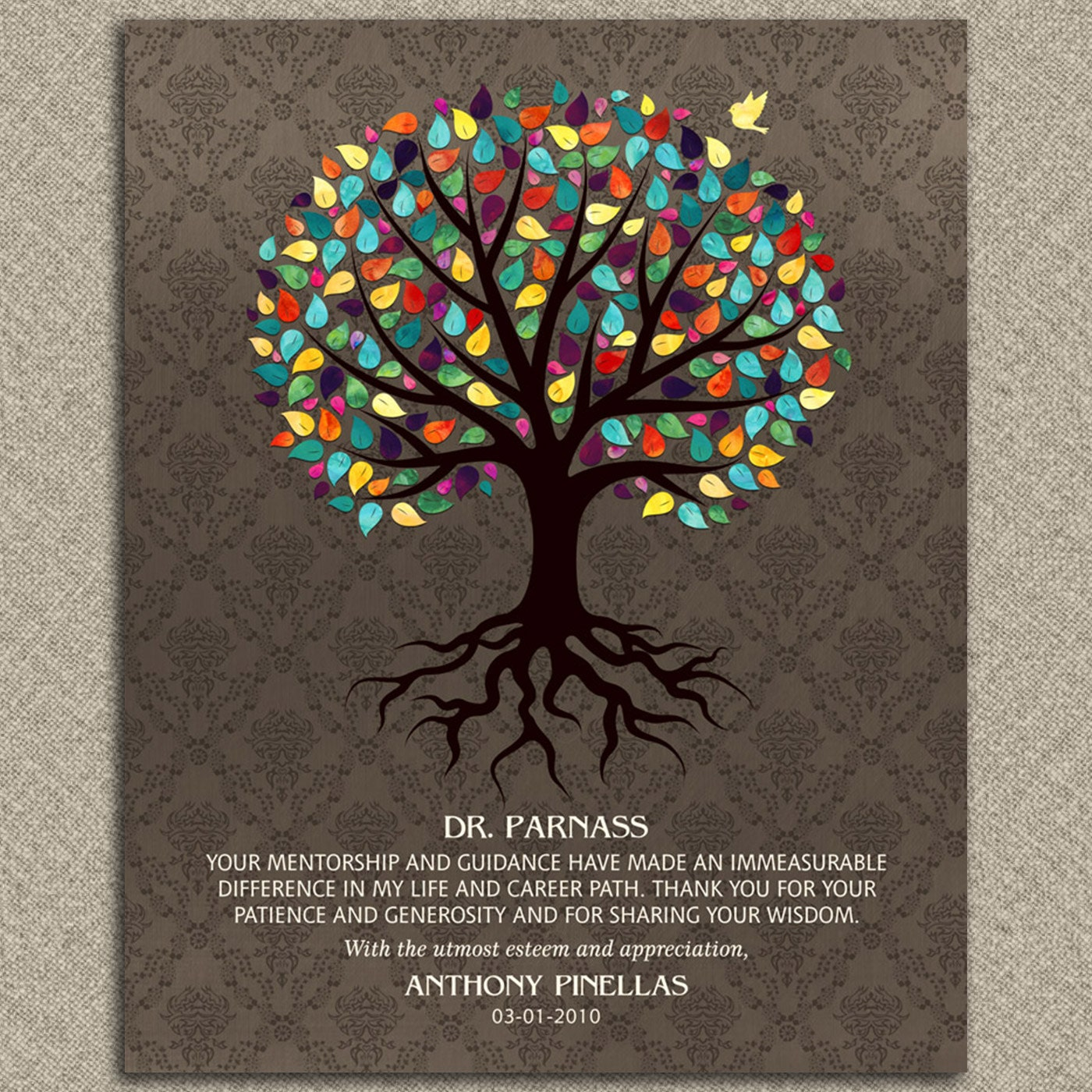 To Be Your Life And Gifts: Gift For Mentor Doctor Colorful Watercolor Tree Damask Gift