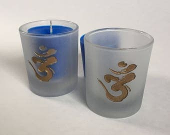 Om Etched Glass Votive Holder