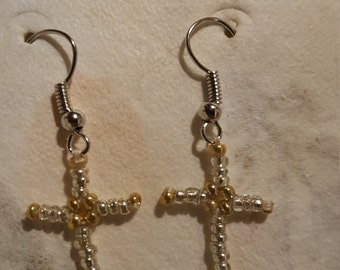 Cross Earrings: silver and gold
