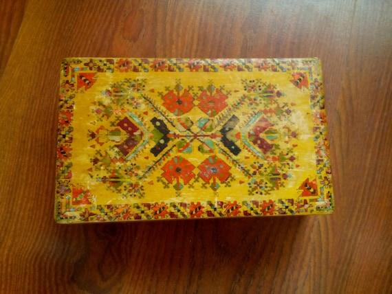 Vintage Handmade Bulgarian Wooden Jewelry Box,Jewelry box, Wooden Box, Folk Art Woodwork, Memory Box, Vintage trinket pyrography box