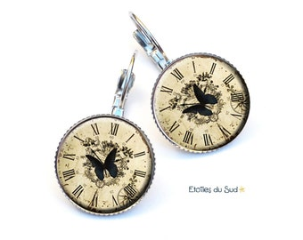 butterflies on clocks, resin, surgical steel hooks, ref.203 cabochon earrings