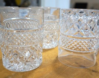 HOCKING GLASS COMPANY 5 Wexford Pattern Mid-century Vintage Crystal Tumbler Old Fashion Glasses 1970s