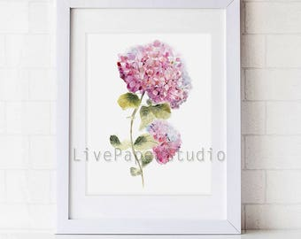 Watercolor Botanical Hydrangea Flowers print, Hydrangea painting home decor, shabby chic Pink Baby Girl Floral Nursery Room