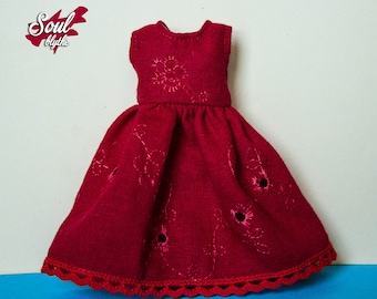Embroidered red dress BLYTHE