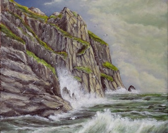 """Marine paint """"at the bottom of the cliff"""" acrylic painted canvas"""