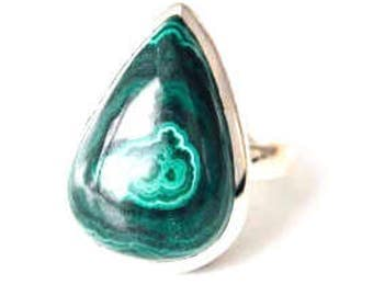 All Natural Malachite • solid sterling SILVER • Graphic • Ring • Size 8