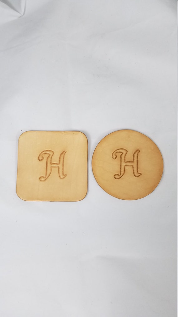Monogram Coasters Set of 4     - Your Choice - Round or Square - Any Color