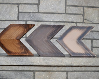 Wood Chevron Arrows set of 3, Fire Burnt Edges. Wall Art. House Warming Present, Wall Decor