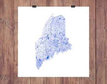 Maine Map - High Res Digital Map of Maine Rivers / Maine Print / Maine Art / Maine Poster / Maine Wall Art / Maine Gift / Maine Wall Decor