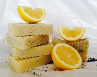 Lemon Poppyseed Soap Bar- vegan, artisan, Canadian, handmade, citrus soap, exfoliating poppy seeds. Homemade with Coconut oil. Made in Canad