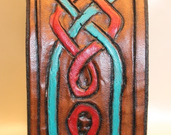 Leather hand carved and painted dog collar with Celtic design