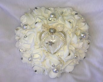 Heart shaped ring bearers pillow