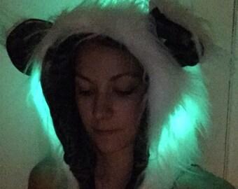 White faux fur spirit hood