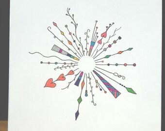 Spring Circle 1, New circular zentangle Greeting Card