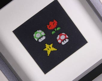 Finished Mario Cross Stitch WITHOUT FRAME, Mario Bross, Embroidery Mario, Geek Cross Stitch